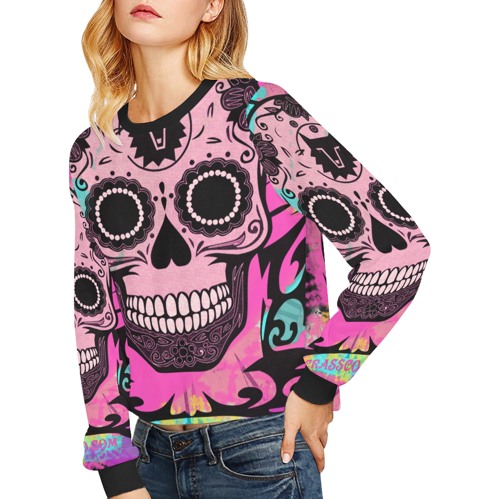 SKULL PINK GIRL Crop Pullover Sweatshirts for Women (Model H20)