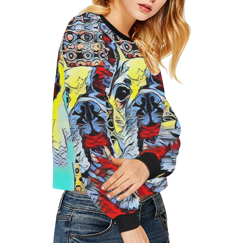 FRENCH BULLDOG OR MOPS Crop Pullover Sweatshirts for Women (Model H20)