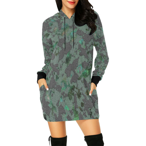 CAMOUFLAGE WOODLAND All Over Print Hoodie Mini Dress (Model H27)