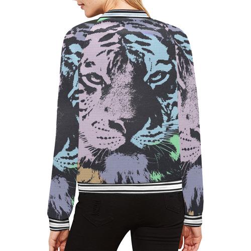 TIGER All Over Print Bomber Jacket for Women (Model H21)