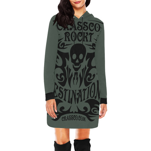SKULL CRASSCO ROCKT II All Over Print Hoodie Mini Dress (Model H27)