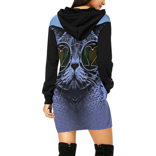BLUE FUNNY CAT All Over Print Hoodie Mini Dress (Model H27)