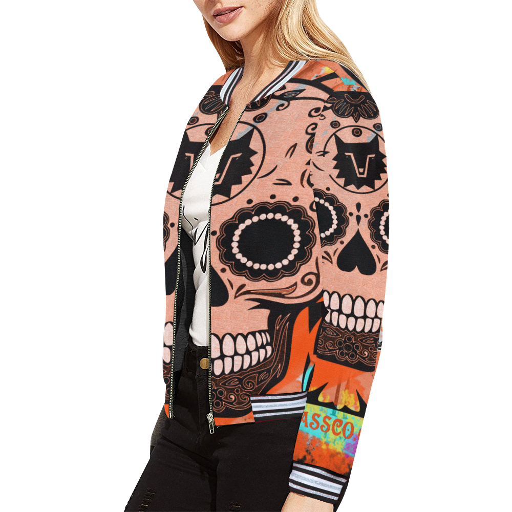 SKULL CULT ORANGE All Over Print Bomber Jacket for Women (Model H21)