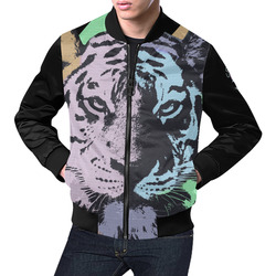 TIGER MULTICOLOR All Over Print Bomber Jacket for Men (Model H19)