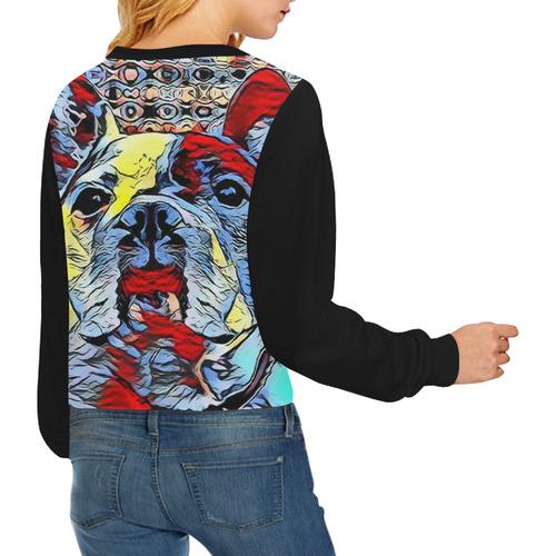 FRENCH BULLDOG OR MOPS II Crop Pullover Sweatshirts for Women (Model H20)