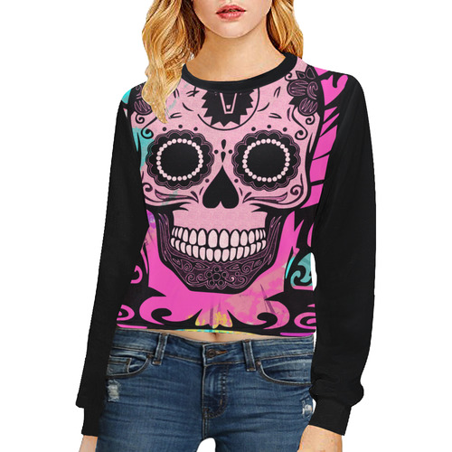 SKULL PINK 4 GIRLS Crop Pullover Sweatshirts for Women (Model H20)