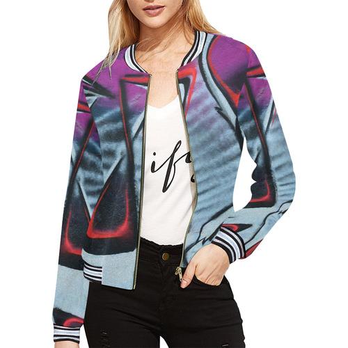 GRAFFITI All Over Print Bomber Jacket for Women (Model H21)