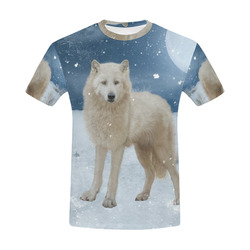 Awesome arctic wolf All Over Print T-Shirt for Men (USA Size) (Model T40)