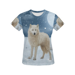 Awesome arctic wolf All Over Print T-Shirt for Women (USA Size) (Model T40)