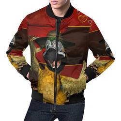 Funny parrot with summer hat All Over Print Bomber Jacket for Men (Model H19)