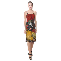 Funny parrot with summer hat Alcestis Slip Dress (Model D05)