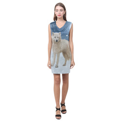 Awesome arctic wolf Phoebe Sleeveless V-Neck Dress (Model D09)