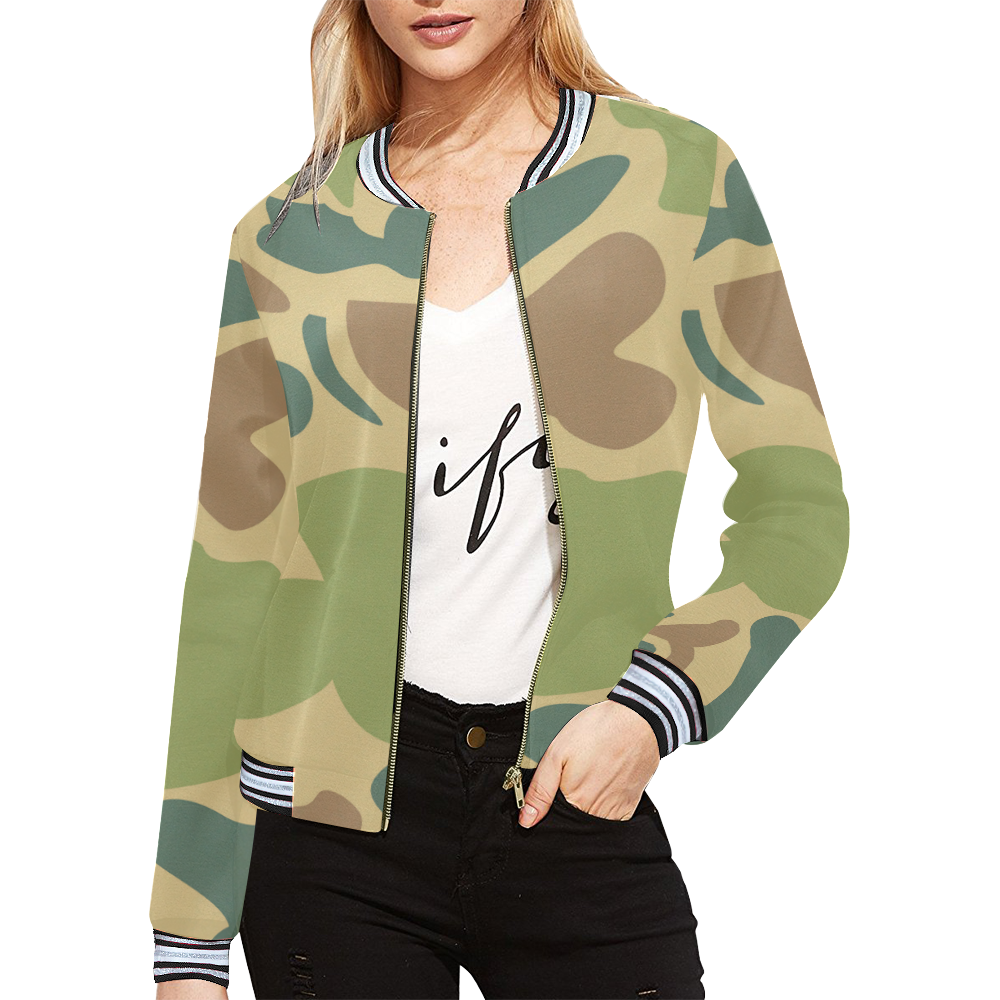 camouflage All Over Print Bomber Jacket for Women (Model H21)