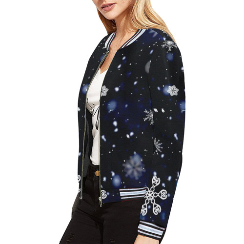 SNOWFLAKES All Over Print Bomber Jacket for Women (Model H21)