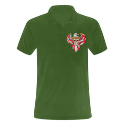 American Eagle Sugar Skull Green Men's Polo Shirt (Model T24)