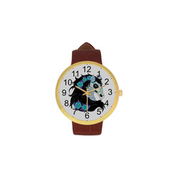 Sugar Skull Horse Turquoise Roses Women's Golden Leather Strap Watch(Model 212)