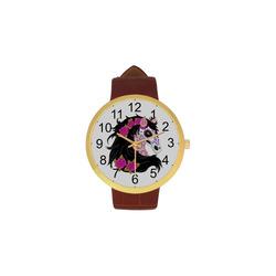 Sugar Skull Horse Pink Roses Women's Golden Leather Strap Watch(Model 212)