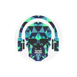 Round DJ skull mouse mat pad Round Mousepad