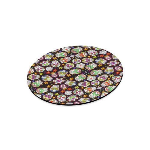 round sugar skull pattern mouse mat pad Round Mousepad