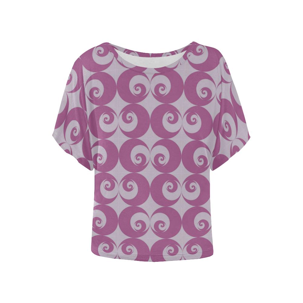 FR Women's Batwing-Sleeved Blouse T shirt (Model T44)