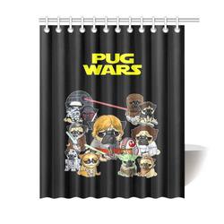 """Pug Wars Shower Curtain 60""""x72"""""""