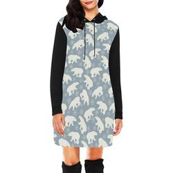 Winter Snowflakes Polar Bears Pattern All Over Print Hoodie Mini Dress (Model H27)