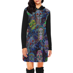 Gothic Sugar Skull Pattern II All Over Print Hoodie Mini Dress (Model H27)