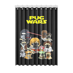 "Pug Wars Window Curtain 52"" x 72""(One Piece)"