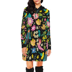 Spring Flowers And Birds Pattern I All Over Print Hoodie Mini Dress (Model H27)
