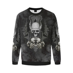 Skull with crow in black and white Men's Oversized Fleece Crew Sweatshirt/Large Size(Model H18)