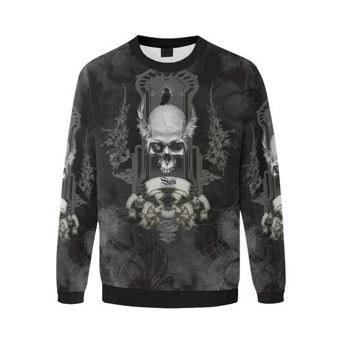 Skull with crow in black and white Men's Oversized Fleece Crew Sweatshirt/Large Size(Model H18)