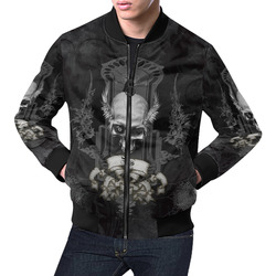 Skull with crow in black and white All Over Print Bomber Jacket for Men (Model H19)
