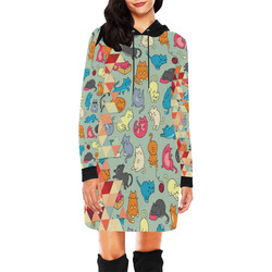 Hipster Triangles and Funny Cats Cut Pattern All Over Print Hoodie Mini Dress (Model H27)