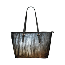 Forest dreams Leather Tote Bag/Large (Model 1651)
