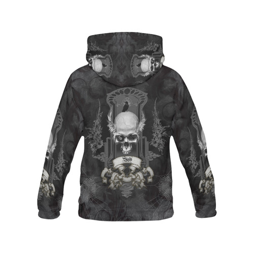 Skull with crow in black and white All Over Print Hoodie for Men (USA Size) (Model H13)
