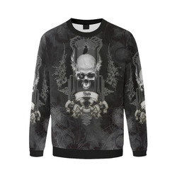 Skull with crow in black and white Men's Oversized Fleece Crew Sweatshirt (Model H18)
