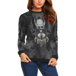 Skull with crow in black and white All Over Print Crewneck Sweatshirt for Women (Model H18)