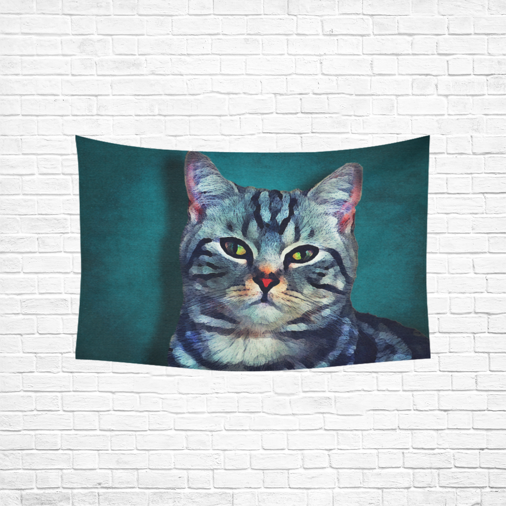 """cat Bella #cat #cats #kitty Cotton Linen Wall Tapestry 60""""x 40"""""""