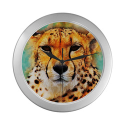 gepard leopard #gepard #leopard #cat Silver Color Wall Clock
