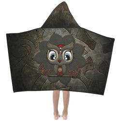 Funny steampunk owl Kids' Hooded Bath Towels
