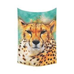 "gepard leopard #gepard #leopard #cat Cotton Linen Wall Tapestry 60""x 90"""