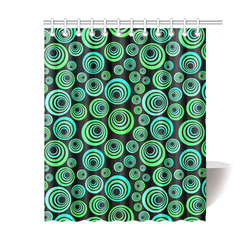 "Crazy Fun Neon Blue & Green retro pattern Shower Curtain 60""x72"""