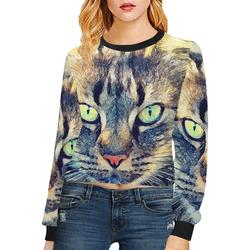 cat Simba Crop Pullover Sweatshirts for Women (Model H20)