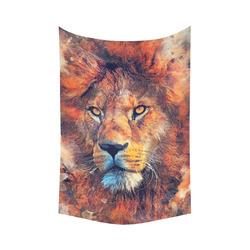 "lion art #lion #animals #cat Cotton Linen Wall Tapestry 60""x 90"""