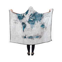 world map OCEANS and continents Hooded Blanket 50''x40''