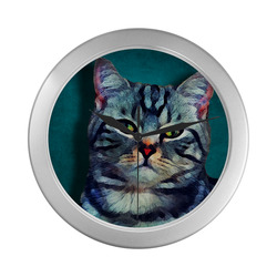 cat Bella #cat #cats #kitty Silver Color Wall Clock