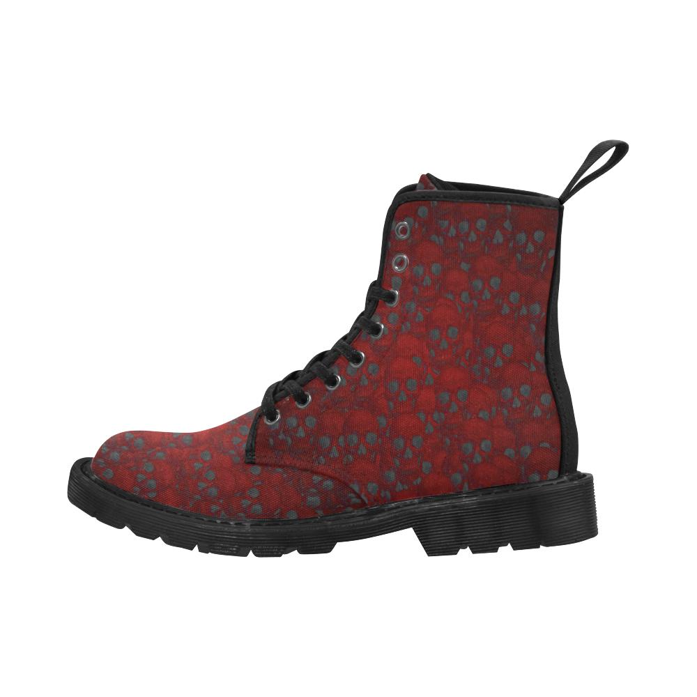 Red Skull wall Martin Boots for Men (Black) (Model 1203H)