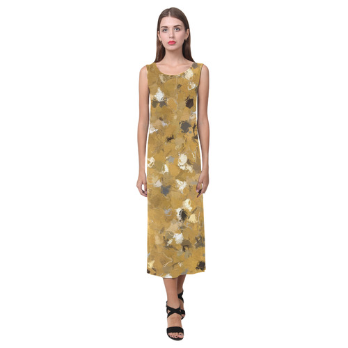 Gold and Gray Confetti 4302 Phaedra Sleeveless Open Fork Long Dress (Model D08)