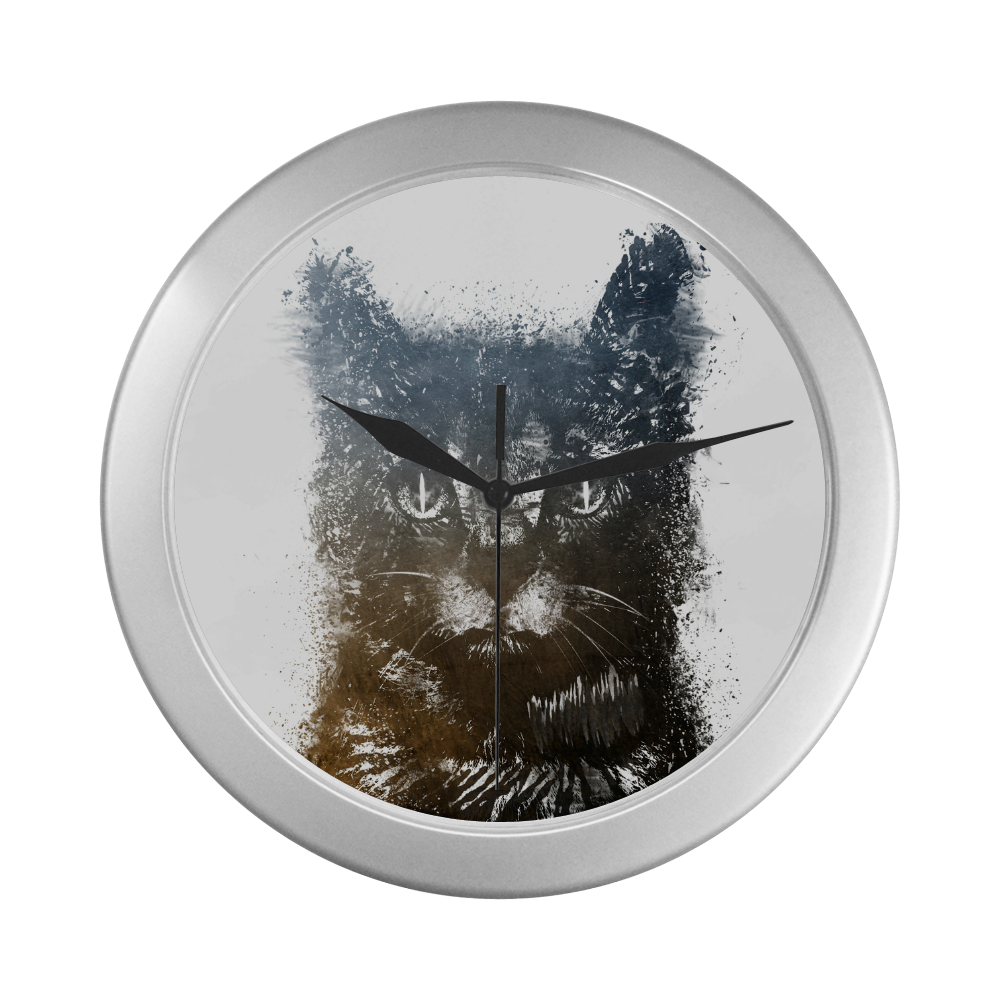 cat #cat #cats #kitty Silver Color Wall Clock