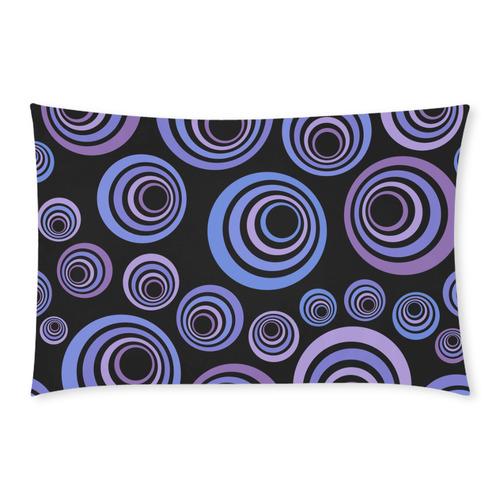 Retro Psychedelic Ultraviolet Blue Pattern 3-Piece Bedding Set